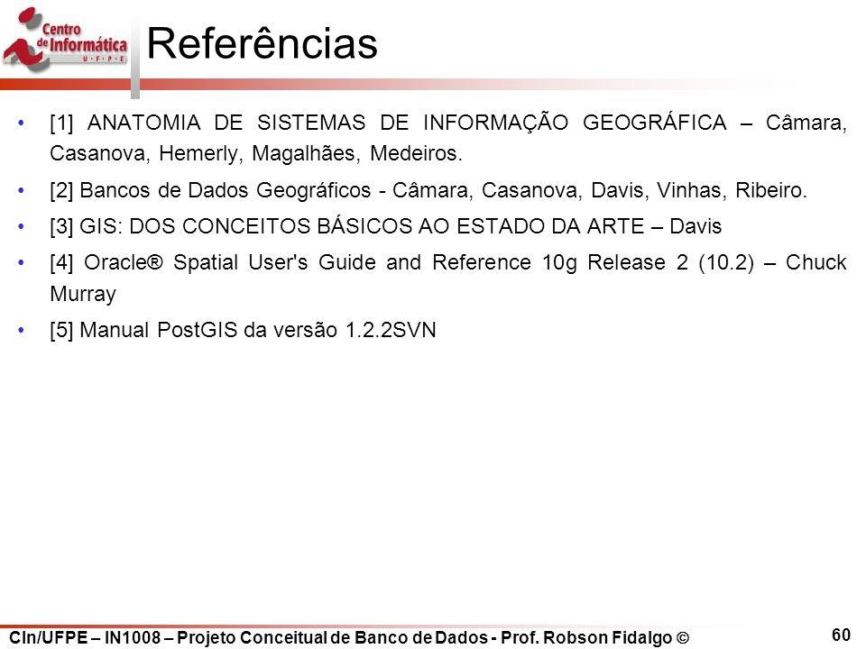 Referências [1] ANATOMIA DE SISTEMAS DE INFORMAÇÃO GEOGRÁFICA – Câmara, Casanova, Hemerly, Magalhães, Medeiros.